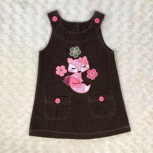 Wonder Kids Fox Dress 2T Brown Corduroy Flowers